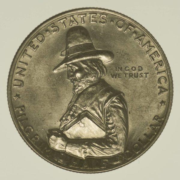 USA Silbermünze Half Dollar 1920 Pilgrim Tercentenary Silber 11,2 Gramm fein RAR
