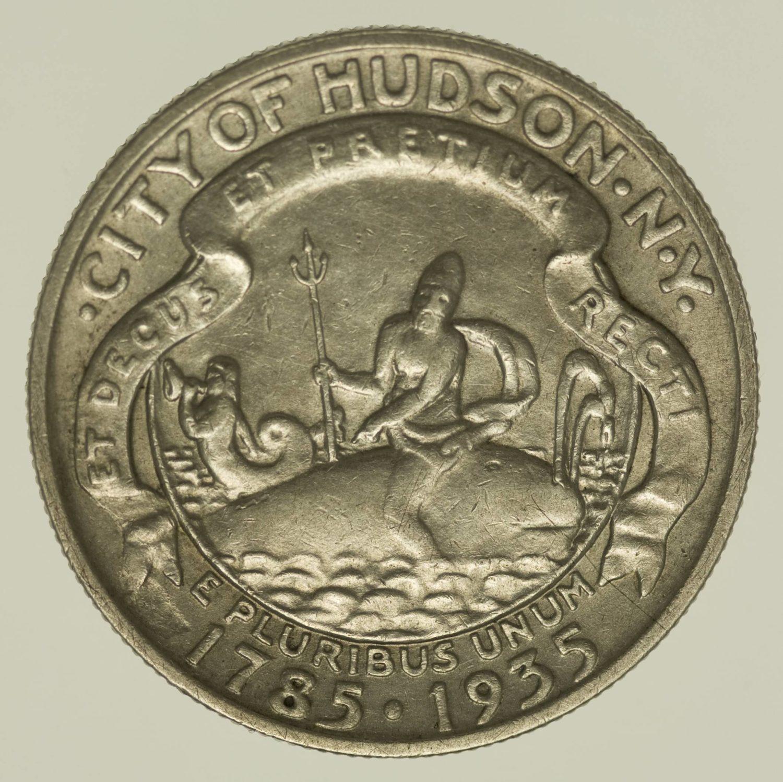 USA Silbermünze Half Dollar 1935 Hudson Silber 11,2 Gramm fein RAR