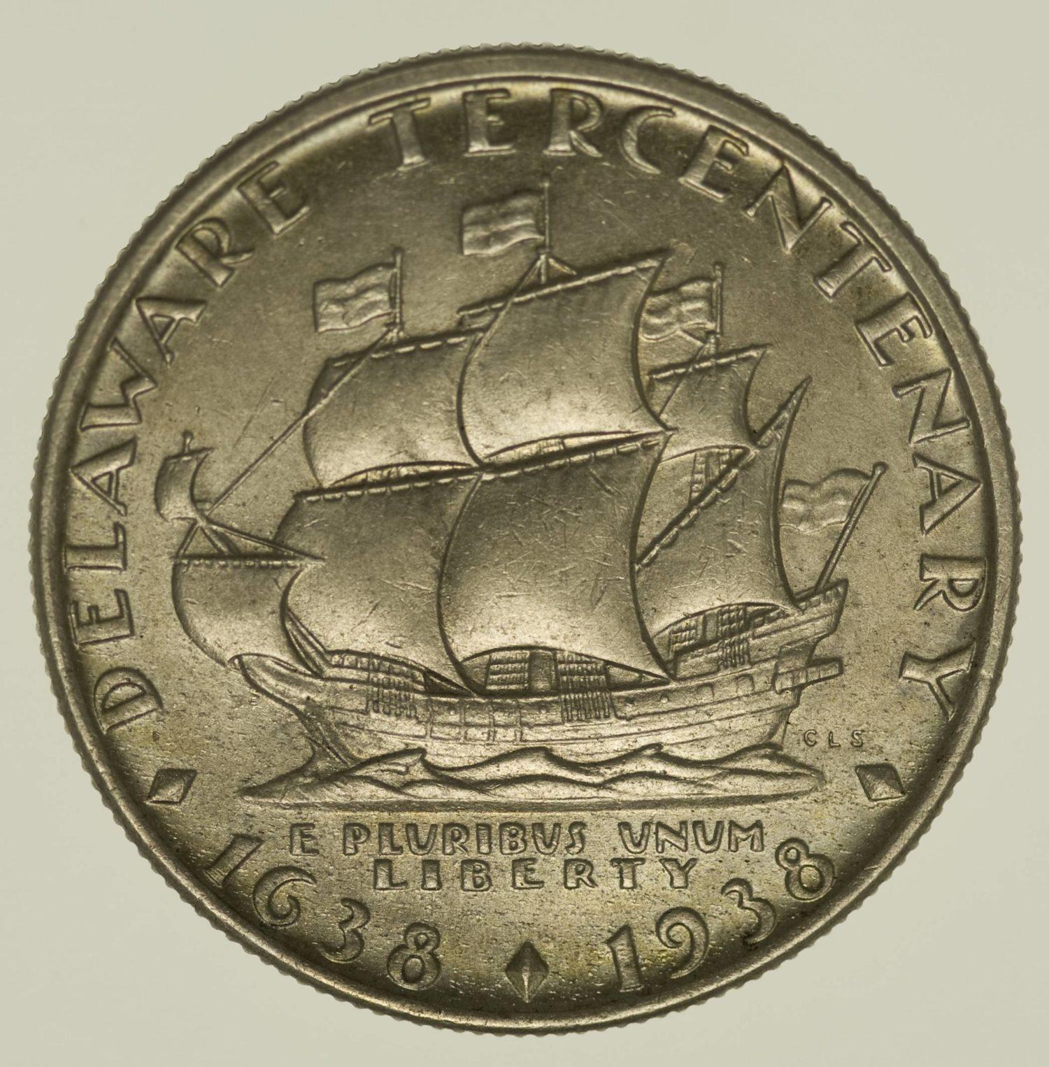USA Silbermünze Half Dollar 1936 Delaware Silber 11,2 Gramm fein RAR