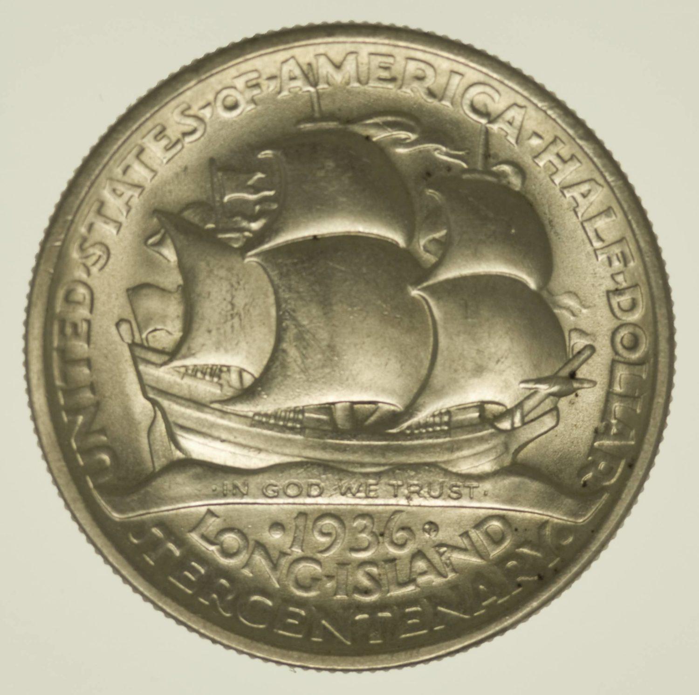 USA Silbermünze Half Dollar 1936 Long Island Silber 11,2 Gramm fein RAR