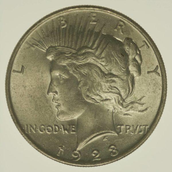 USA Silbermünze Peace Dollar 1923 Silber 24,05 Gramm fein RAR