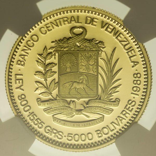 Venezuela Santiago Marino 5000 Bolivares 1988 Proof Gold 13,99 Gramm fein RAR