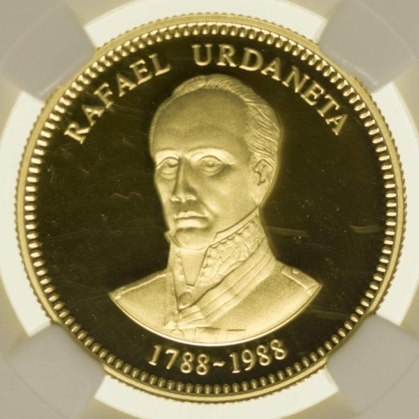 Venezuela Rafael Urdaneta 5000 Bolivares 1988 Proof Gold 13,99 Gramm fein RAR