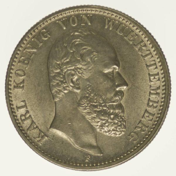 Württemberg Karl 2 Mark 1888 Silber 10 Gramm fein RAR