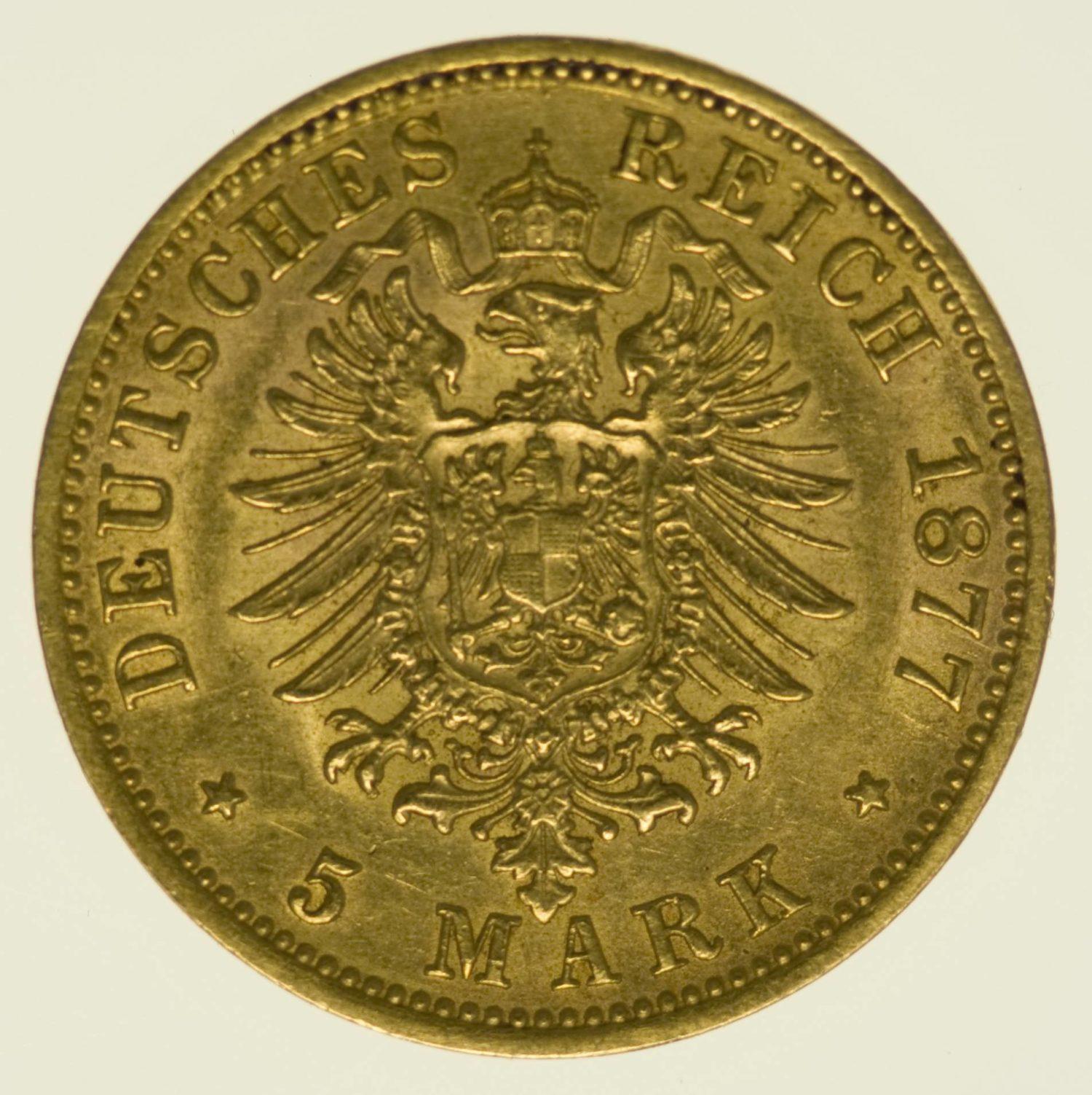 Württemberg Karl 5 Mark 1877 Gold 1,79 Gramm fein RAR