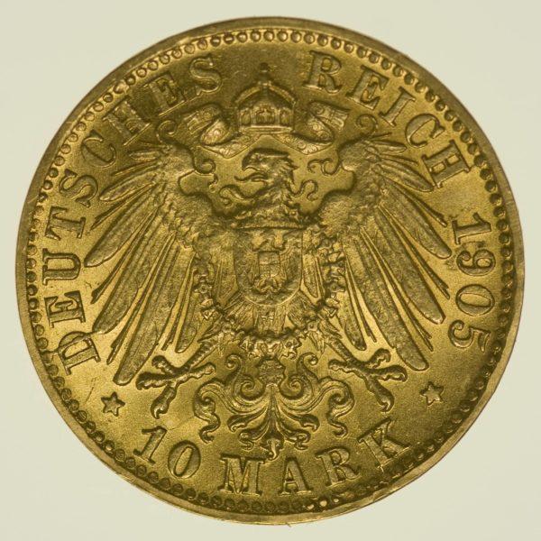 Württemberg Wilhelm II. 10 Mark 1905 Gold 3,58 Gramm fein RAR