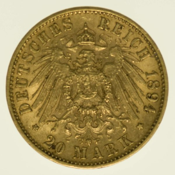 Württemberg Wilhelm II 20 Mark 1894 Gold 7,16 Gramm fein RAR