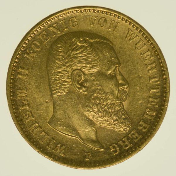 Württemberg Wilhelm II 20 Mark 1897 Gold 7,16 Gramm fein RAR