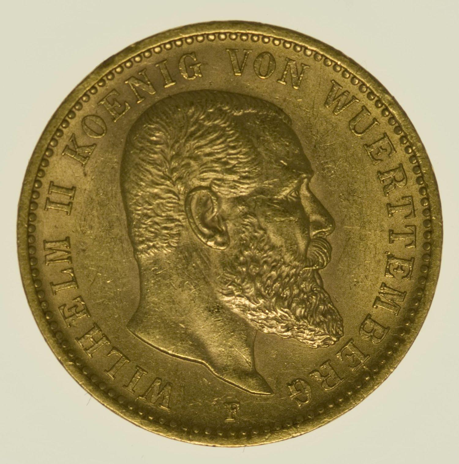 Württemberg Wilhelm II 20 Mark 1900 Gold 7,16 Gramm fein RAR