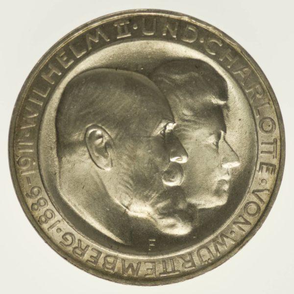 Württemberg Wilhelm II. Silberhochzeit 3 Mark 1911 Silber 15 Gramm fein RAR