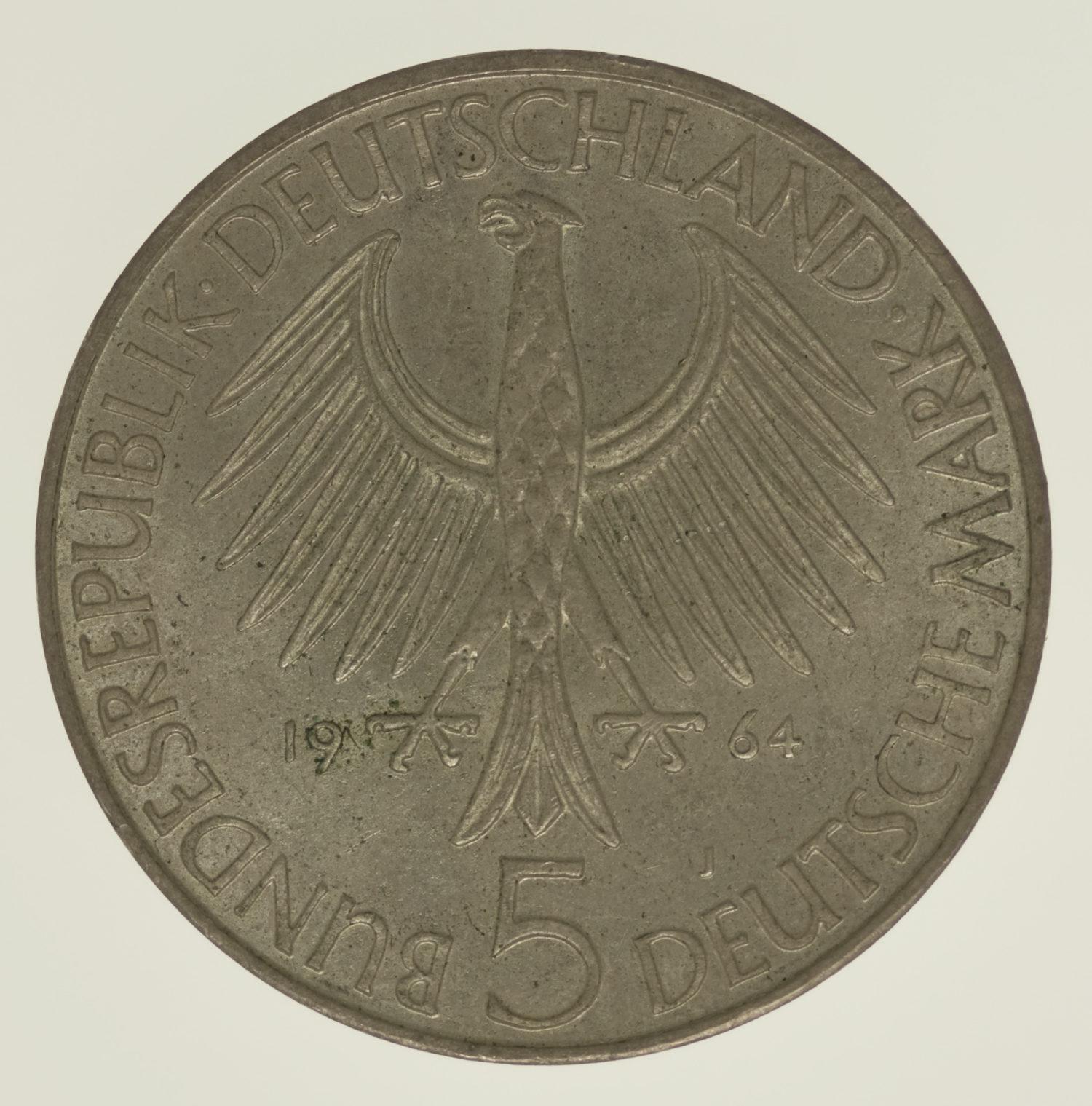 brd-deutsche-silbermuenzen - BRD 5 Mark 1964 Fichte