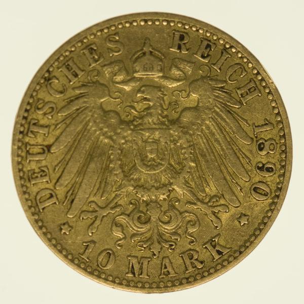 deutsches-kaiserreich-ab-1871 - Hamburg 10 Mark 1890