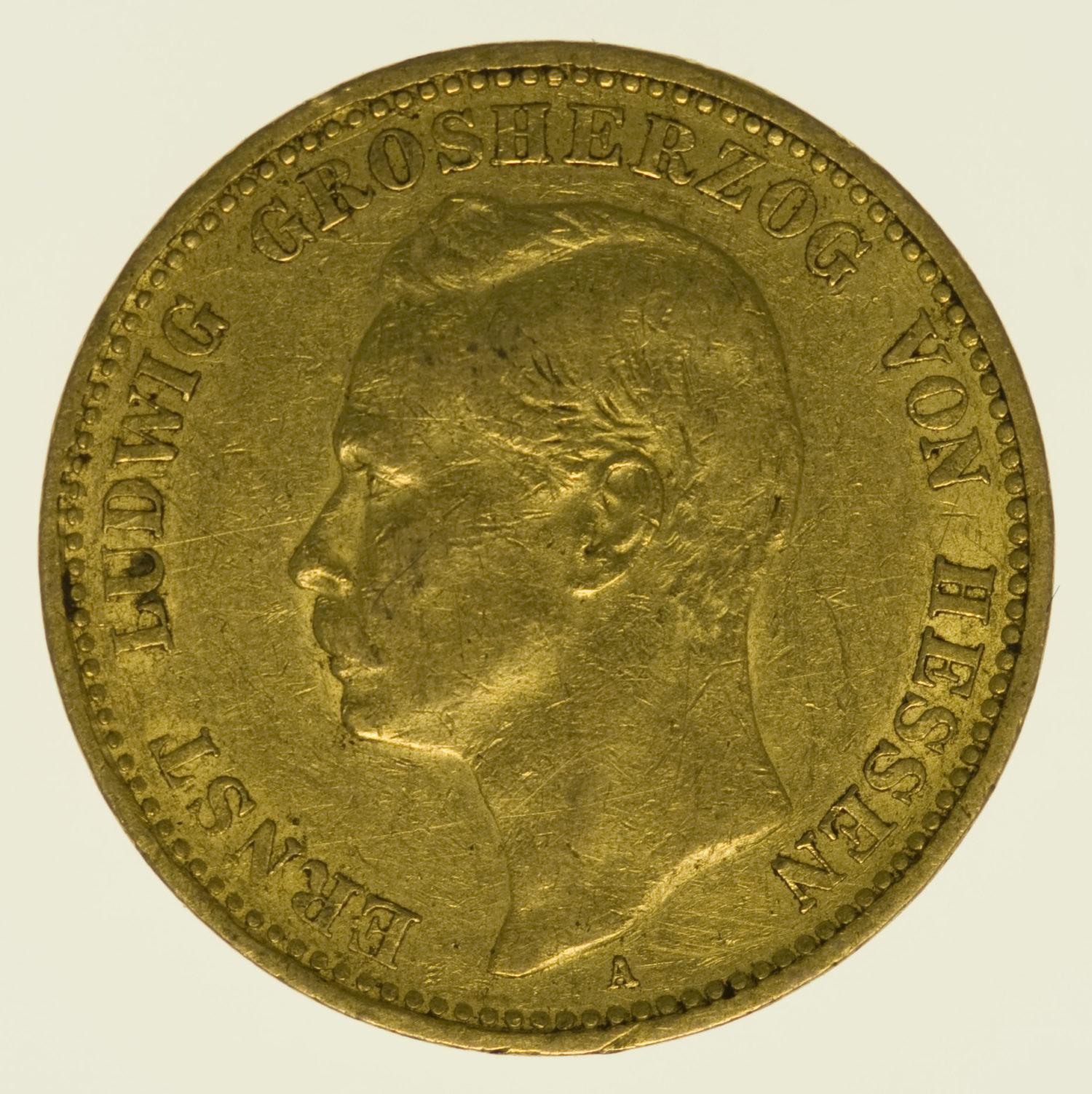 deutsches-kaiserreich-ab-1871 - Hessen Ernst Ludwig 20 Mark 1900
