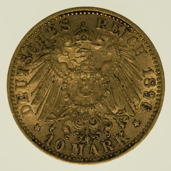deutsches-kaiserreich-ab-1871 - Württemberg Wilhelm II. 10 Mark 1896