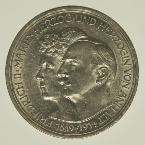 deutsches-kaiserreich-ab-1871-deutsche-silbermuenzen - Anhalt Friedrich II. 3 Mark 1914