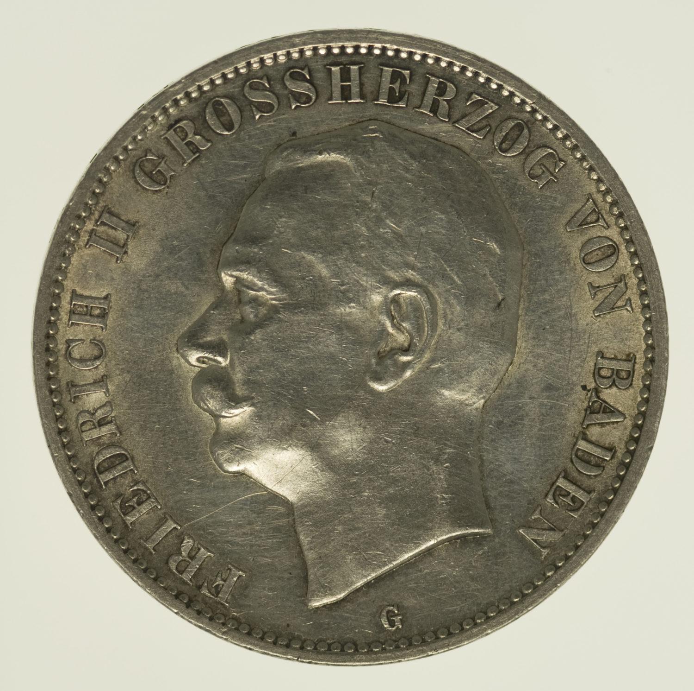 deutsches-kaiserreich-ab-1871-deutsche-silbermuenzen - Baden Friedrich II. 5 Mark 1913