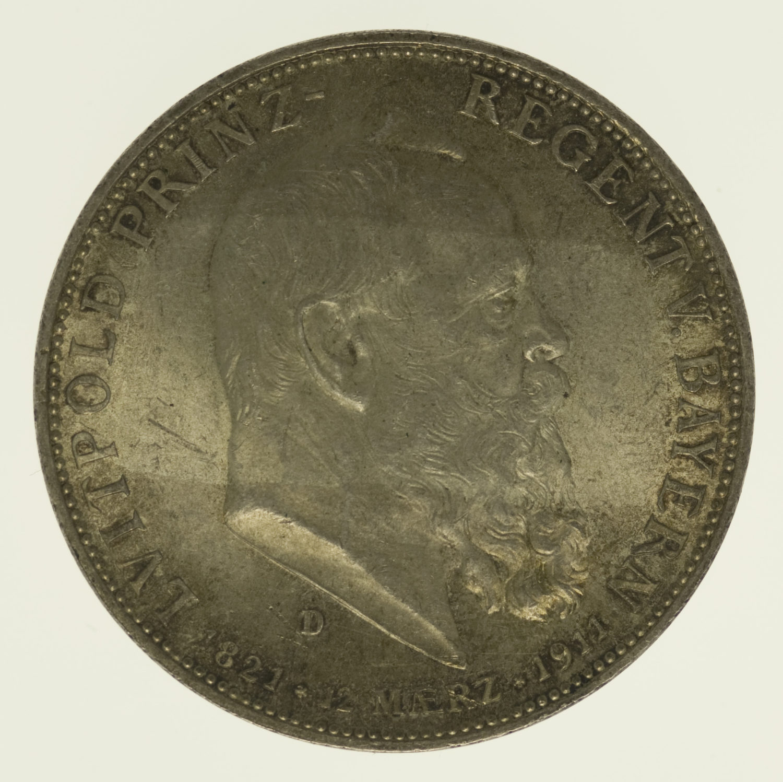 deutsches-kaiserreich-ab-1871-deutsche-silbermuenzen - Bayern Luitpold 5 Mark 1911