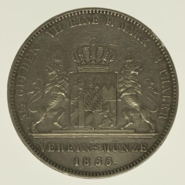 altdeutschland-deutsche-silbermuenzen - Bayern Maximilian II. Joseph Doppeltaler 1855