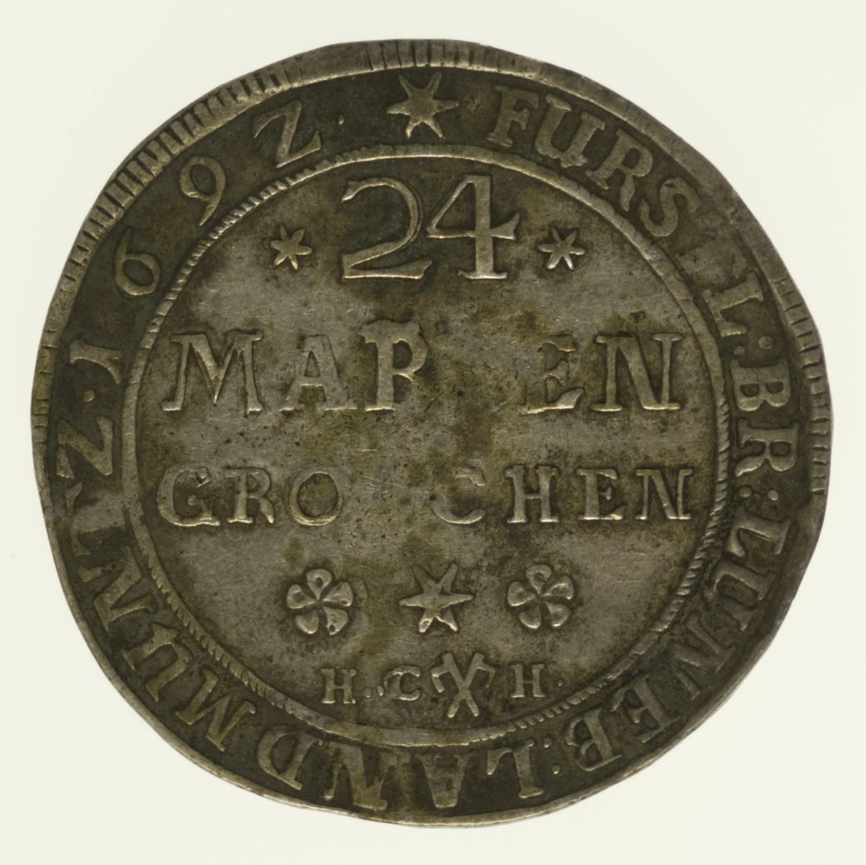 altdeutschland-deutsche-silbermuenzen - Braunschweig und Lüneburg 24 Mariengroschen 1692