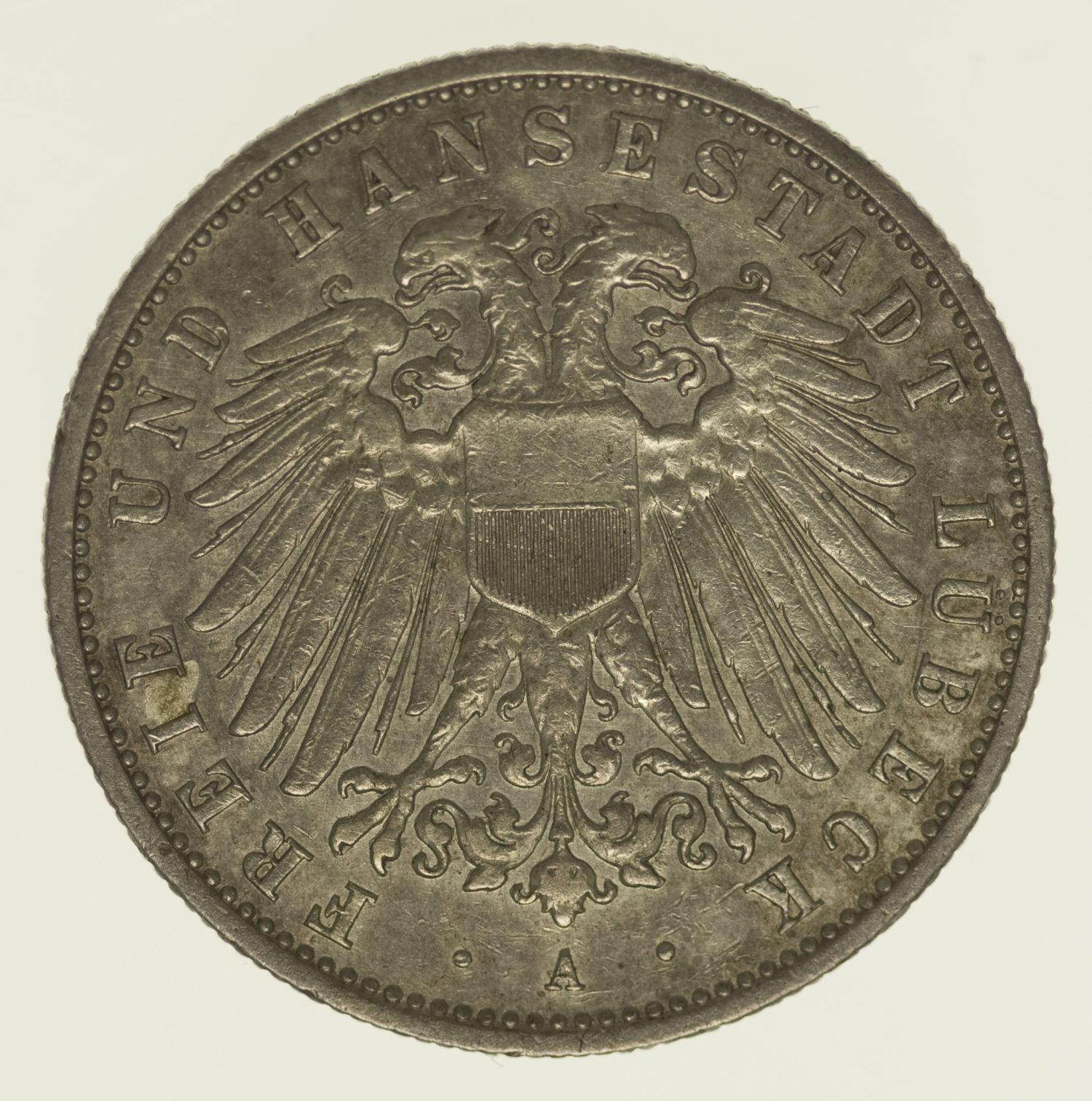 deutsches-kaiserreich-ab-1871-deutsche-silbermuenzen - Lübeck Stadtwappen 2 Mark 1905