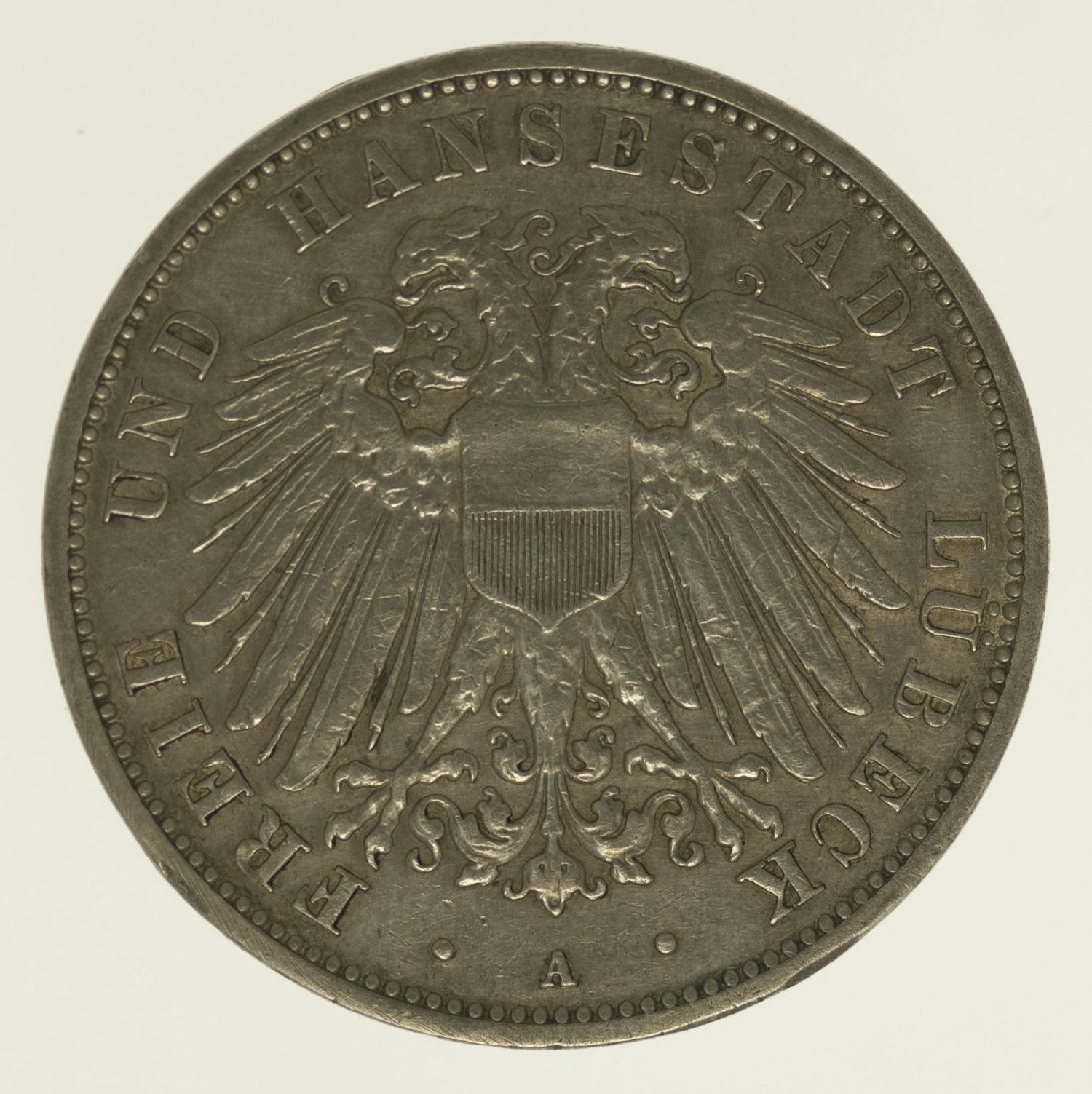 deutsches-kaiserreich-ab-1871-deutsche-silbermuenzen - Lübeck Stadtwappen 3 Mark 1910