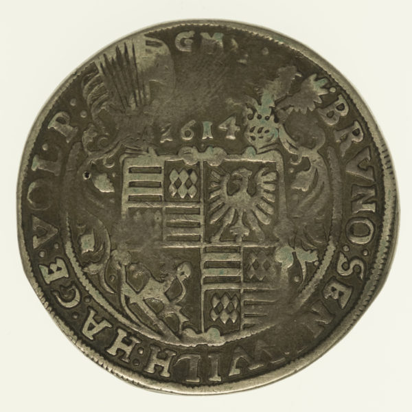 altdeutschland-deutsche-silbermuenzen - Mansfeld Bornstedt Bruno II. Taler 1614