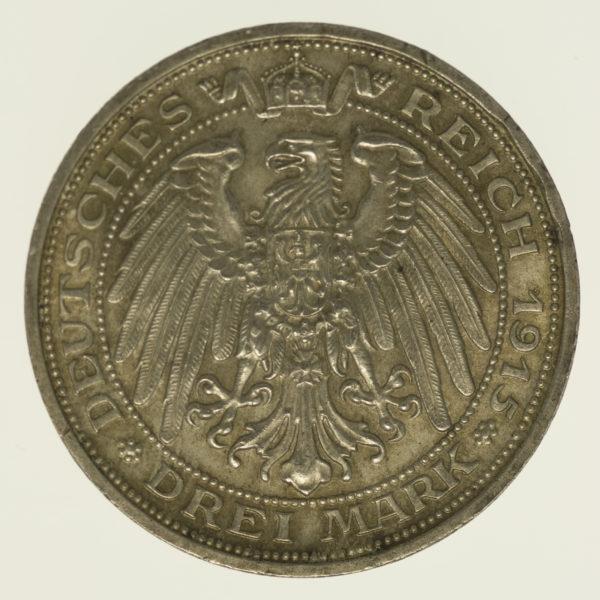 deutsches-kaiserreich-ab-1871-deutsche-silbermuenzen - Mecklenburg Schwerin Friedrich Franz IV. 3 Mark 1915