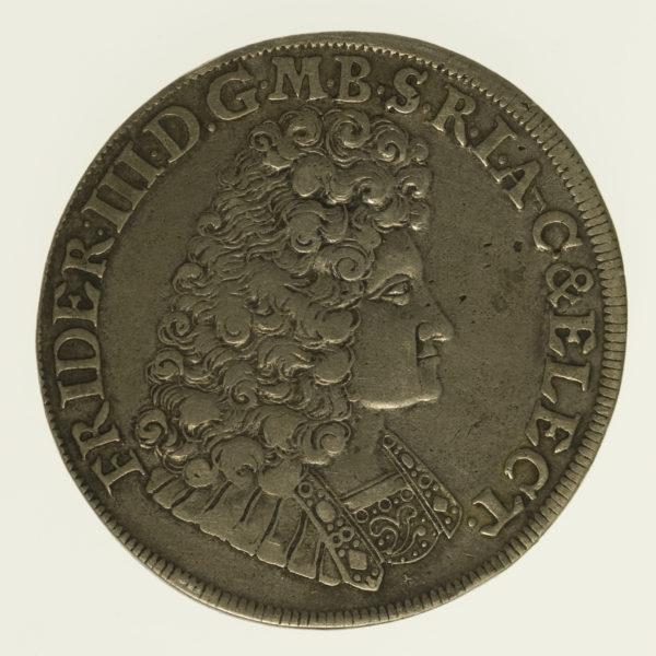 altdeutschland-deutsche-silbermuenzen - Brandenburg Preussen Friedrich III. 2/3 Taler 1691
