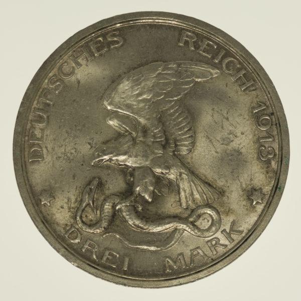 deutsches-kaiserreich-ab-1871-deutsche-silbermuenzen - Preussen Wilhelm II. 3 Mark 1913