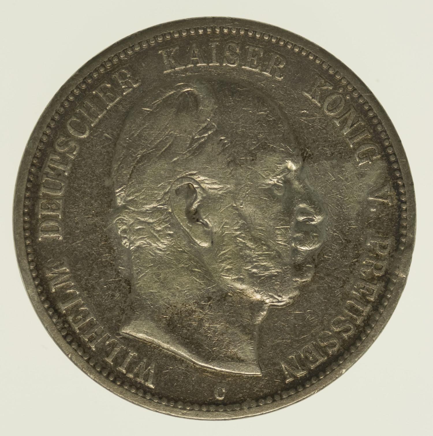 deutsches-kaiserreich-ab-1871-deutsche-silbermuenzen - Preussen Wilhelm I. 5 Mark 1876