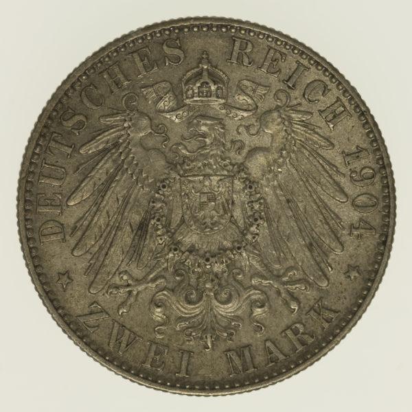 deutsches-kaiserreich-ab-1871-deutsche-silbermuenzen - Sachsen Georg 2 Mark 1904