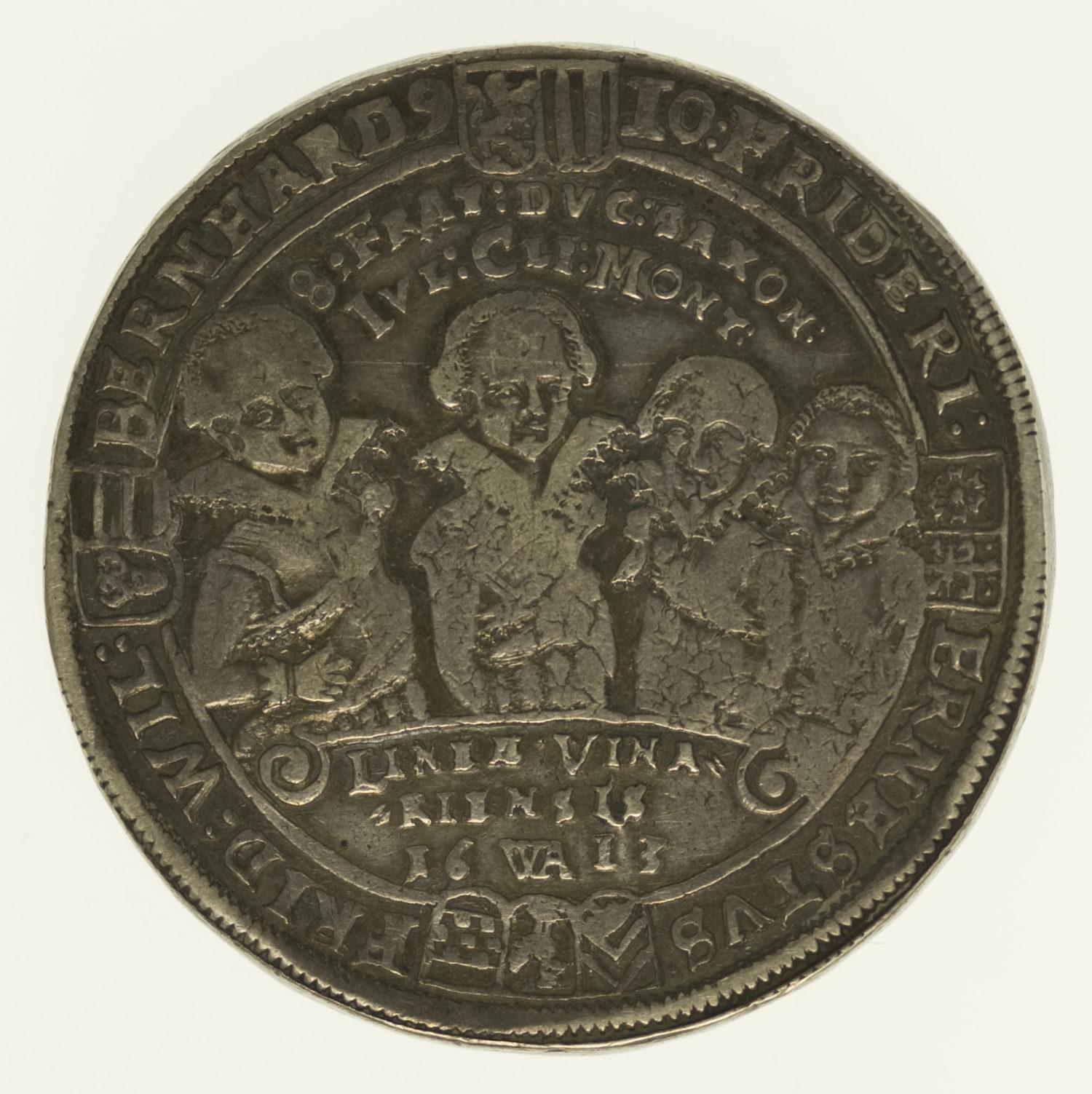 altdeutschland-deutsche-silbermuenzen - Sachsen Weimar Johann Ernst und seine 7 Brüder Taler 1613