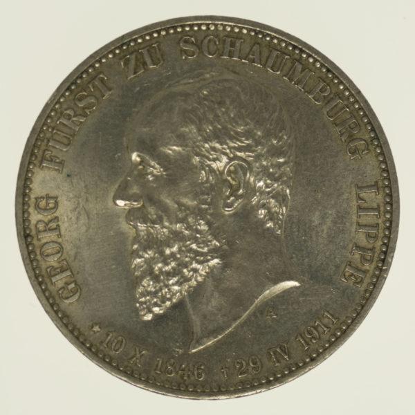 deutsches-kaiserreich-ab-1871-deutsche-silbermuenzen - Schaumburg Lippe Georg 3 Mark 1911