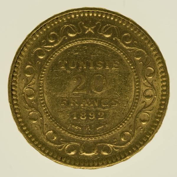tunesien - Tunesien Ali III. Bey 20 Francs 1892