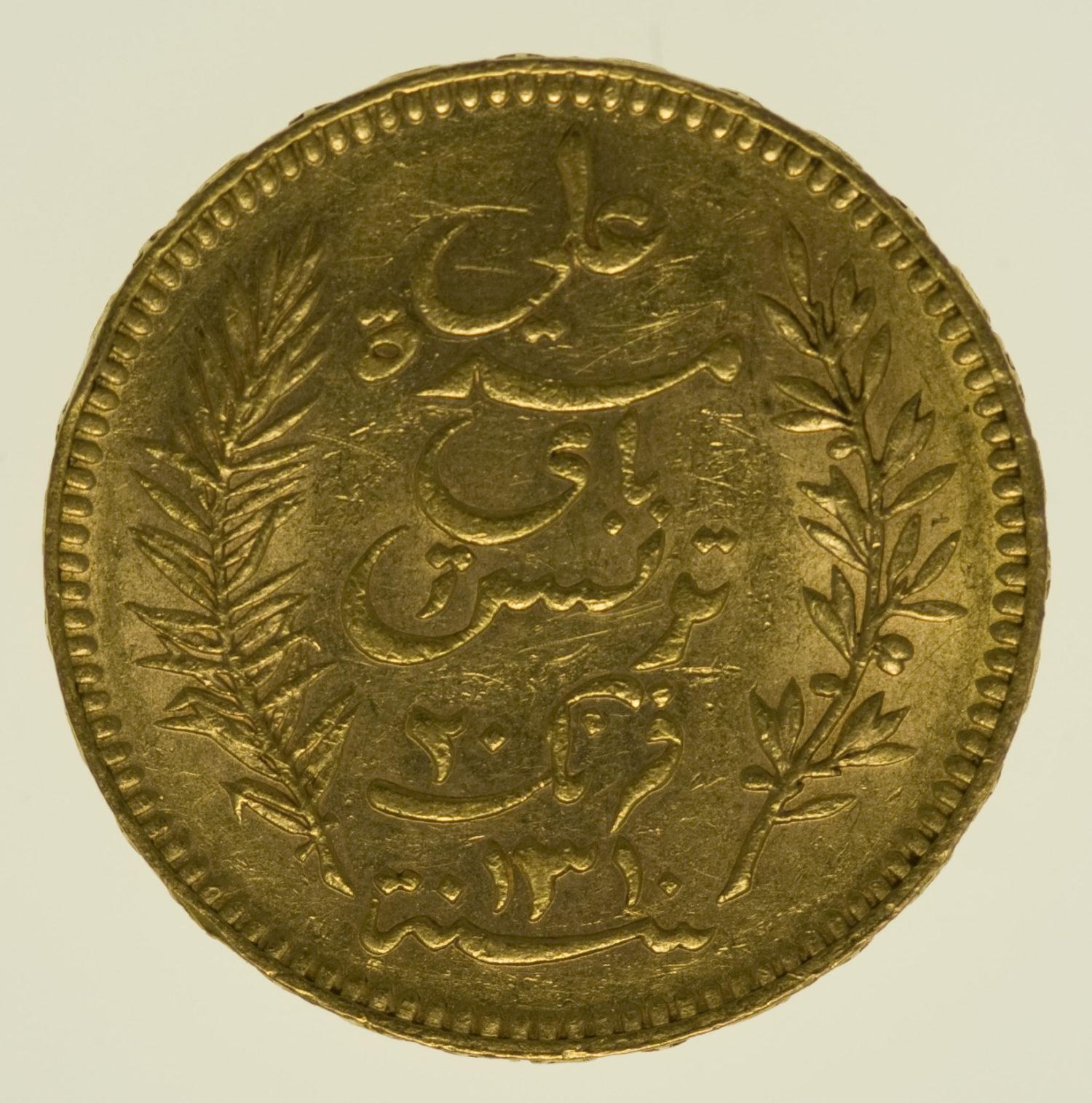 tunesien - Tunesien Ali Bey 20 Francs 1892