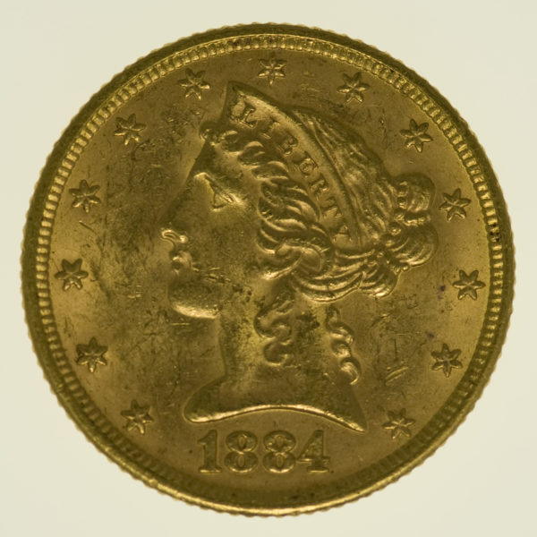usa - USA 5 Dollars 1884 Liberty / Kopf