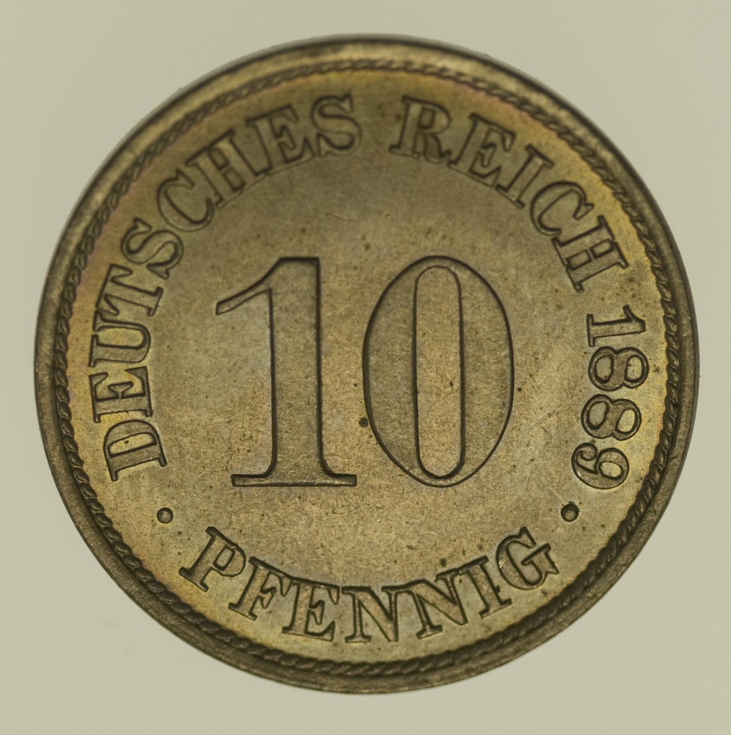 deutsches-kaiserreich-ab-1871-deutsche-silbermuenzen - 10 Pfennig 1889 A
