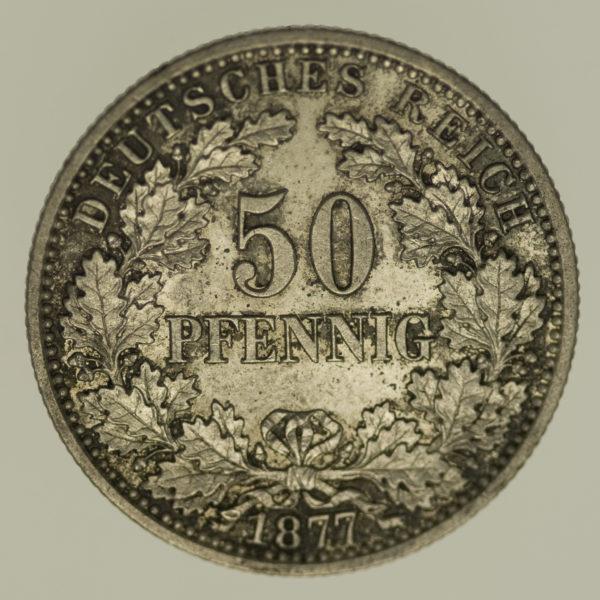 deutsches-kaiserreich-ab-1871-deutsche-silbermuenzen - 50 Pfennig 1877 B