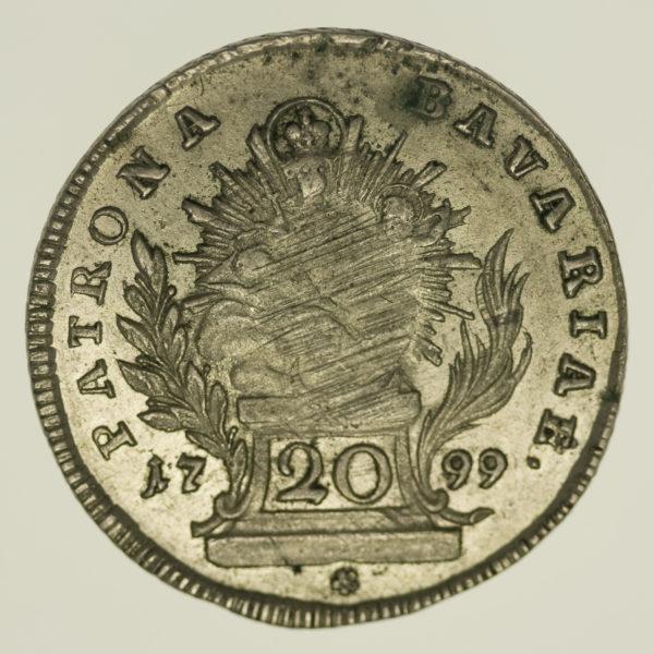 altdeutschland-deutsche-silbermuenzen - Bayern Karl Theodor 20 Kreuzer 1799