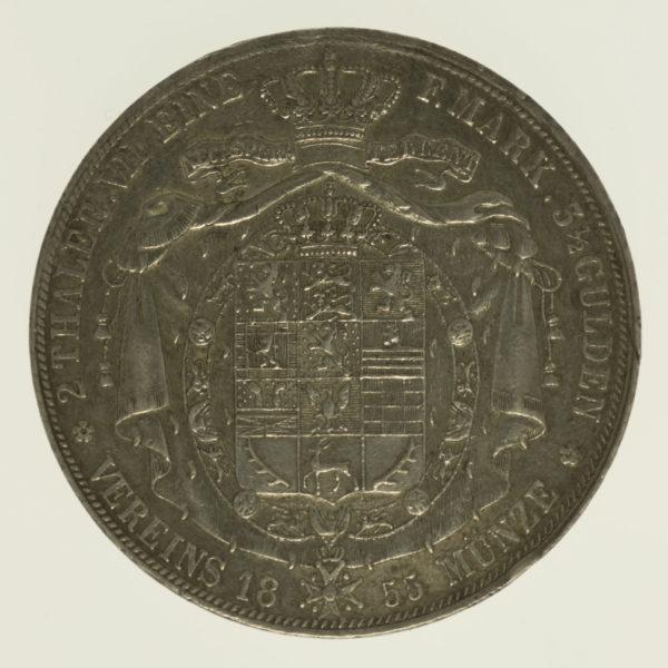 altdeutschland-deutsche-silbermuenzen - Braunschweig Wolfenbüttel Wilhelm Doppeltaler 1855