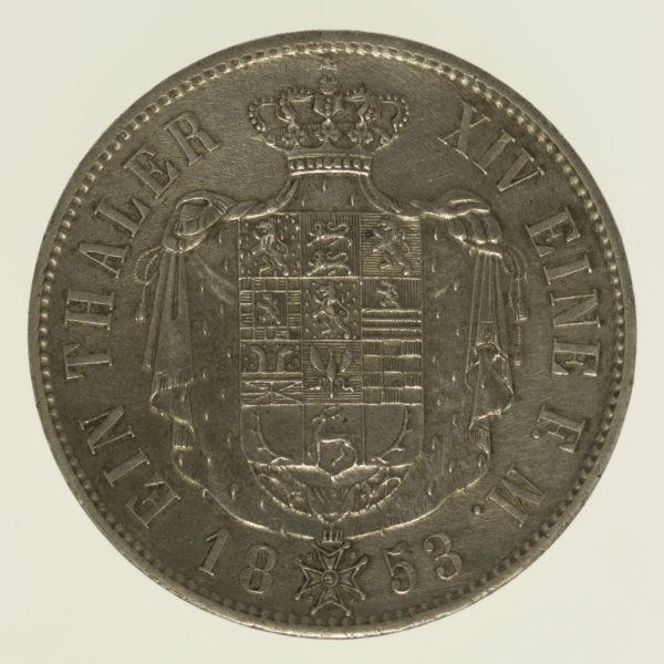 altdeutschland-deutsche-silbermuenzen - Braunschweig Wolfenbüttel Wilhelm Taler 1853