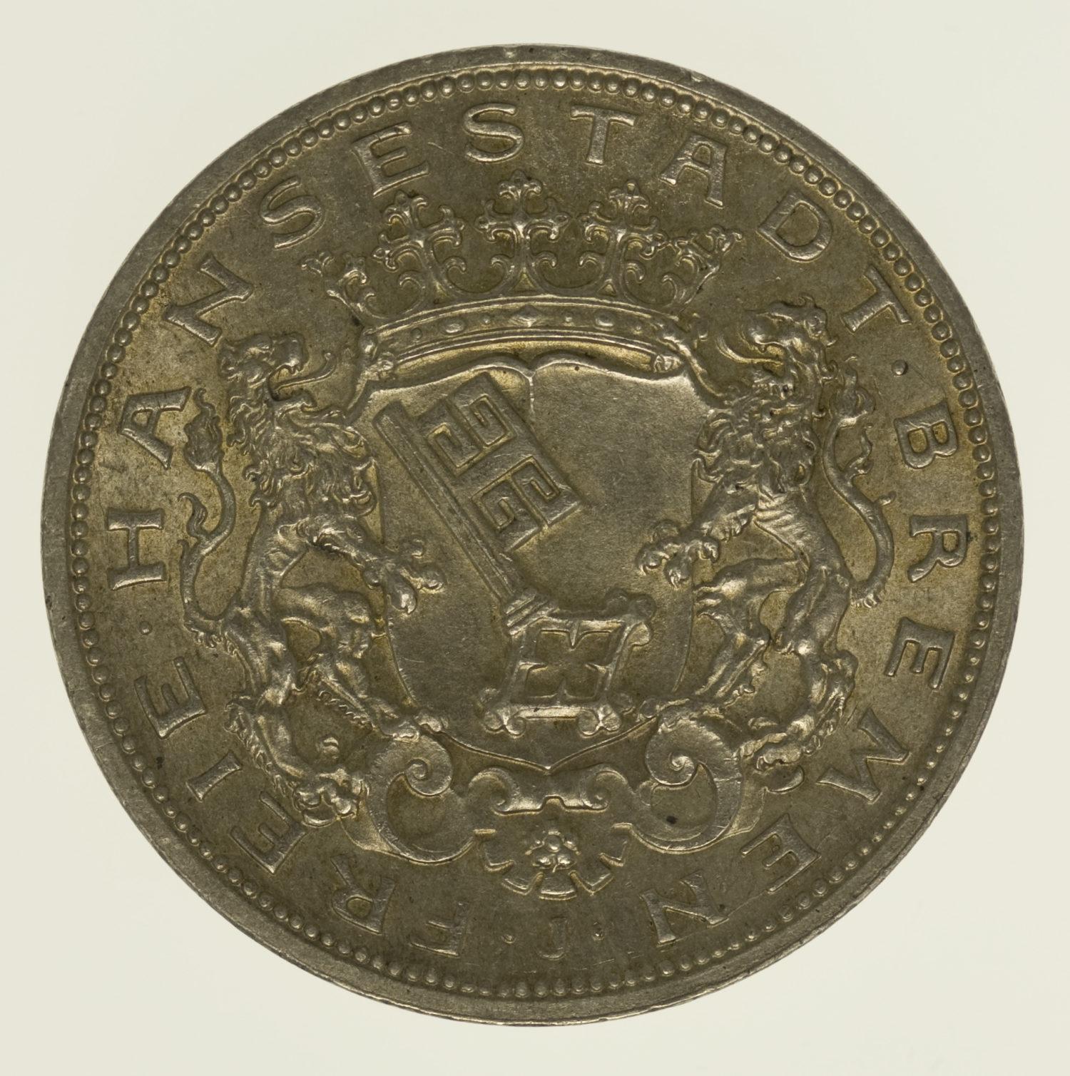 deutsches-kaiserreich-ab-1871-deutsche-silbermuenzen - Bremen Stadtwappen 5 Mark 1906