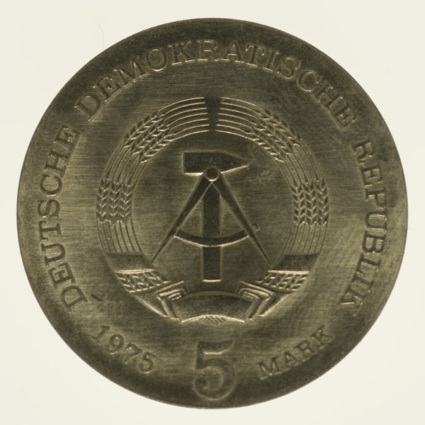 ddr-deutsche-silbermuenzen - DDR 5 Mark 1975 Mann