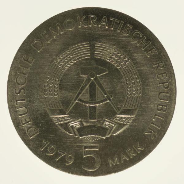 ddr-deutsche-silbermuenzen - DDR 5 Mark 1979 Einstein