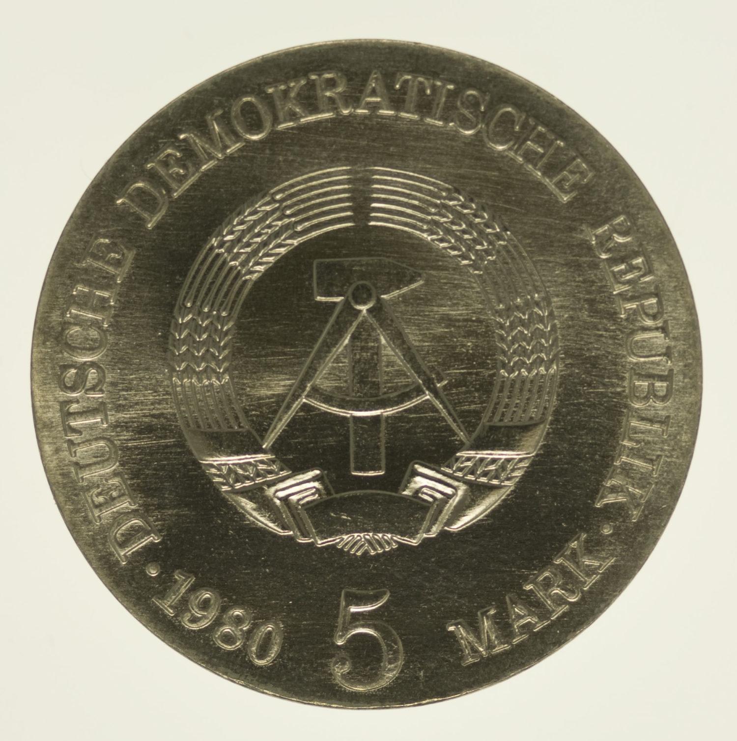 ddr-deutsche-silbermuenzen - DDR 5 Mark 1980 von Menzel