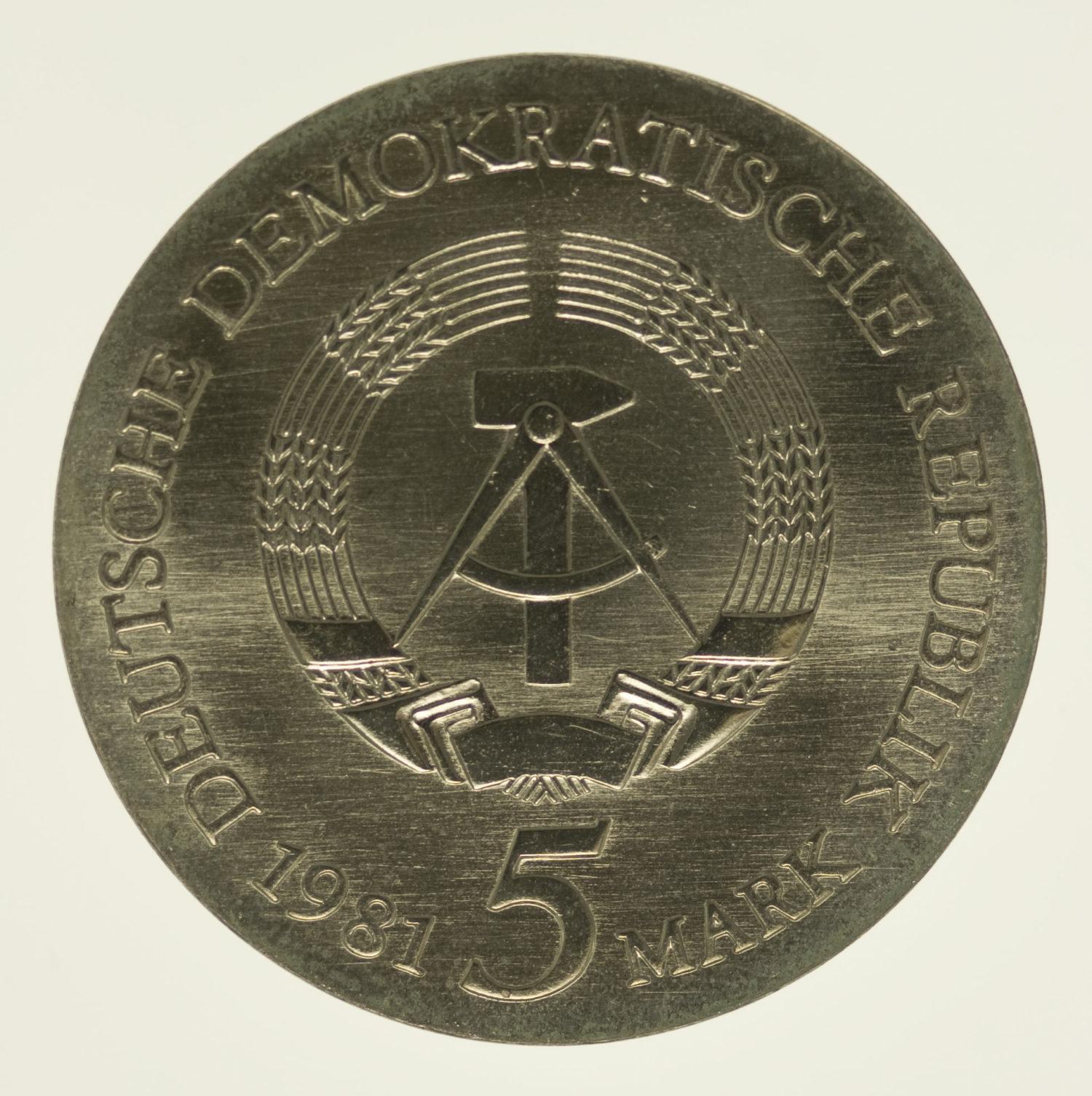ddr-deutsche-silbermuenzen - DDR 5 Mark 1981 Riemenschneider