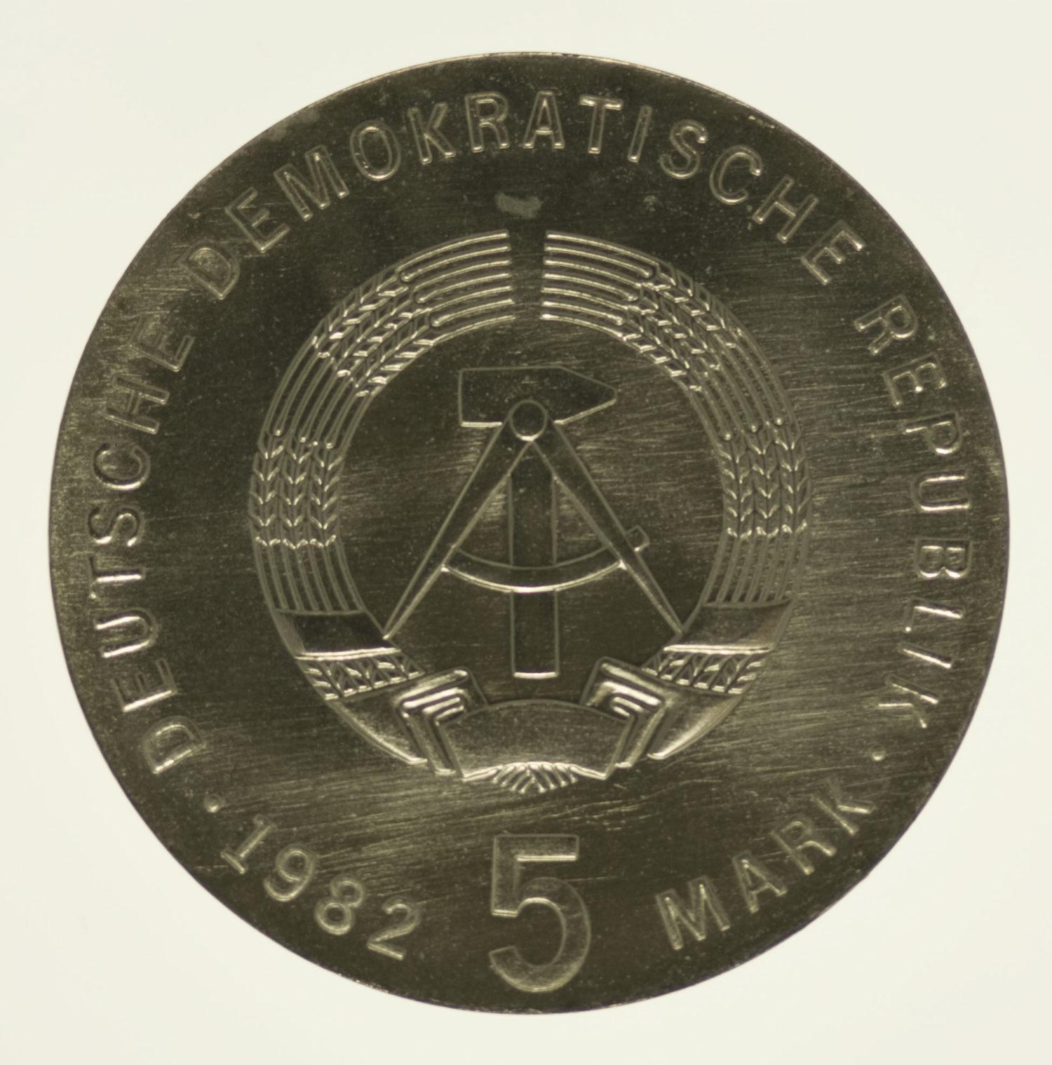 ddr-deutsche-silbermuenzen - DDR 5 Mark 1982 Fröbel