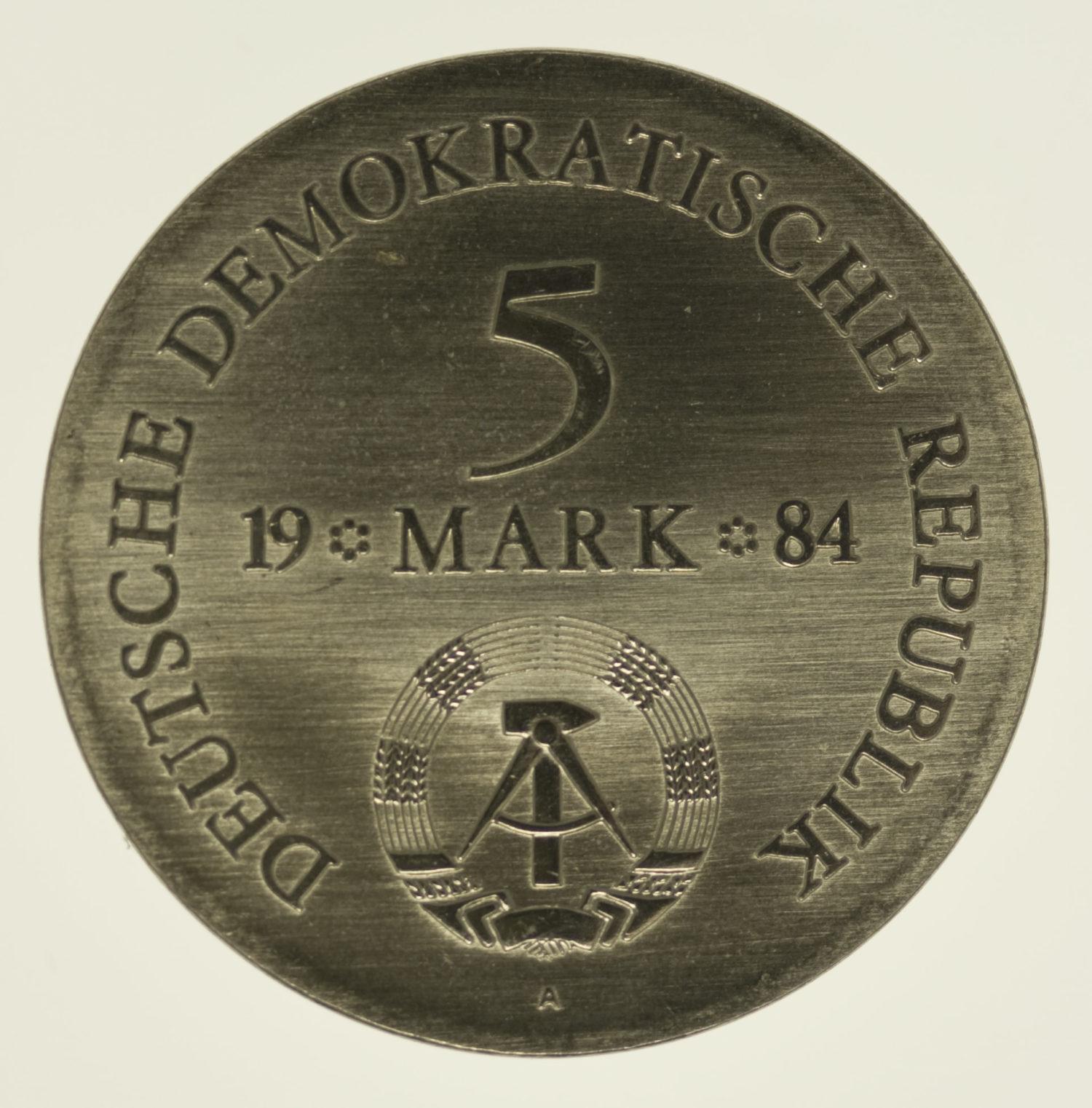 ddr-deutsche-silbermuenzen - DDR 5 Mark 1984 von Lützow