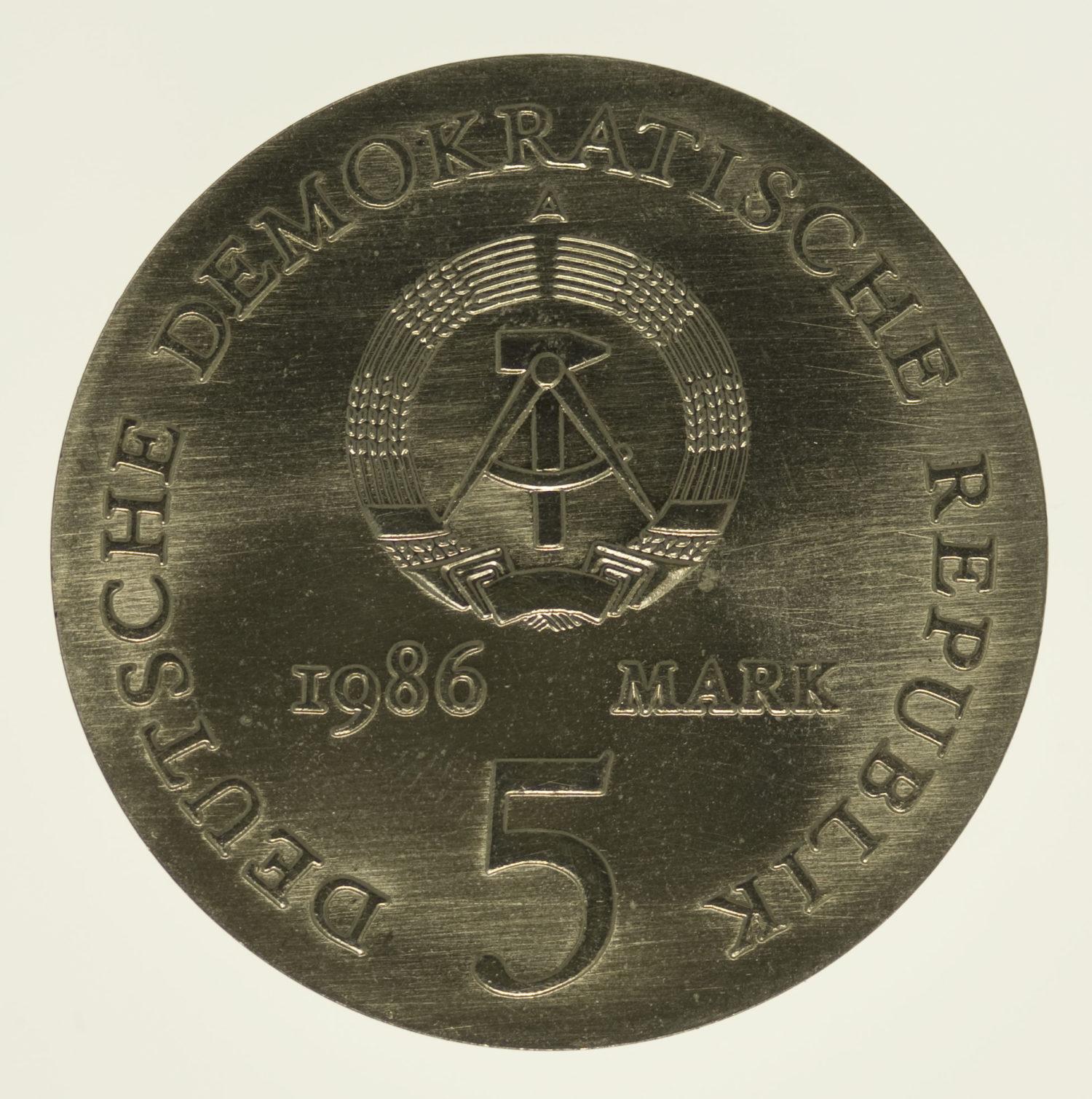 ddr-deutsche-silbermuenzen - DDR 5 Mark 1986 von Kleist