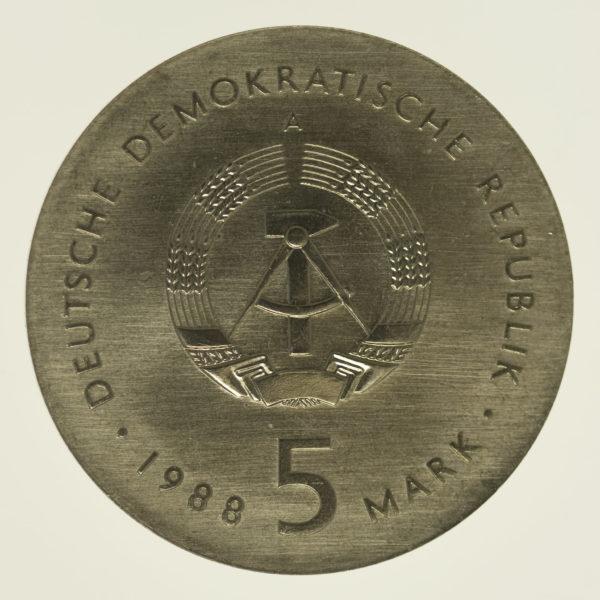 ddr-deutsche-silbermuenzen - DDR 5 Mark 1988 Barlach